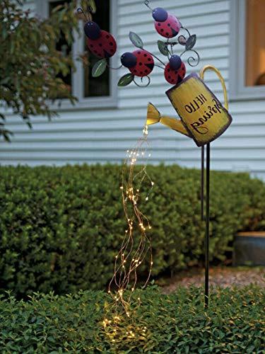 QULONG Decoración de luz de Arte para jardín - 35'hebras de LED, luz LED de regadera, luz de Noche Estrellada de Hadas, Luces de Hadas LED, estatuas de esculturas de jardín, Luces de Cadena para e
