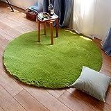 GLYY 和風 円形 ラグマット 洗える 直径 約 60cm マイクロファイバー シャギー 床暖房対応 ラグ 防ダニ 丸型 ラグ 滑り止め付き 折り畳み可能 カーペット じゅうたん グリーン