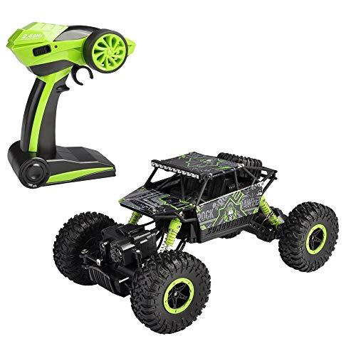 Naiyn RC Car 4WD 2.4Ghz 1/18 Crawlers Vehículo Todoterreno Juguete Control Remoto Coche Color Verde con Dos baterías, Rally Buggy Juguetes para niños niñas