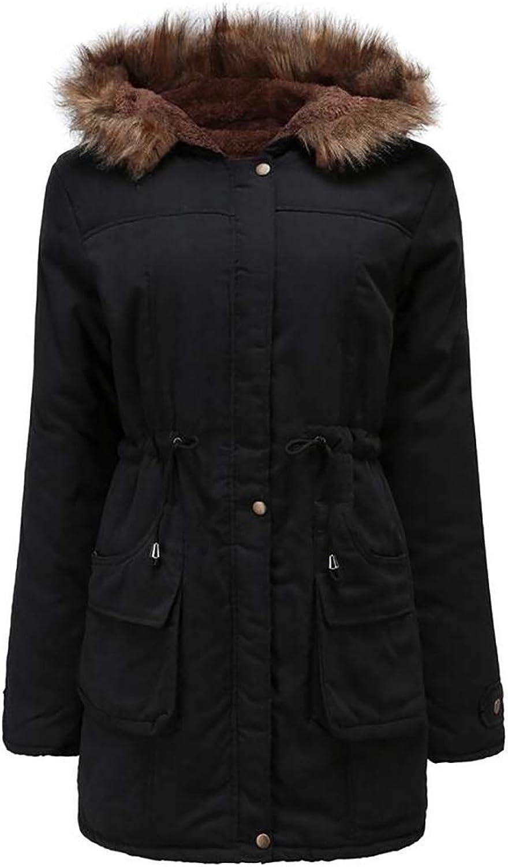 Gocgt Womens Coat Hoodie Long Parka with Faux Fur Hood Slim Fit Down Jacket
