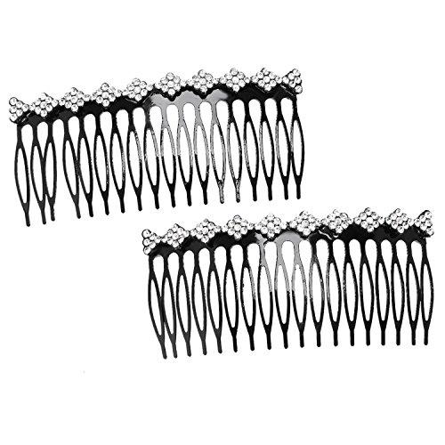 TOOGOO Plante decorative en plastique Femmes Lady strass cheveux clip peigne diapositive pince a cheveux 2pieces Argente
