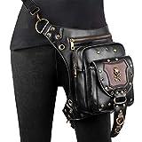 Riñonera Punk Hip Bag Bolso gótico de la Cintura Fanny Pack de Cuero Steampunk Bag Bolso de Viaje Punk Rock Cadena Pierna Crossbody Hombro Mensajero Bolsas Bolsa de Cuero