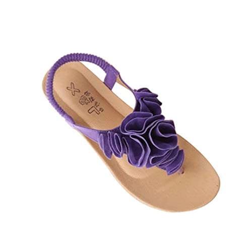 release date ddab8 b40b2 YOUJIA Womens Bohemia Sweet Flower Clip Toe T-Strap Flip Flops Thong Sandals  Beach Shoes