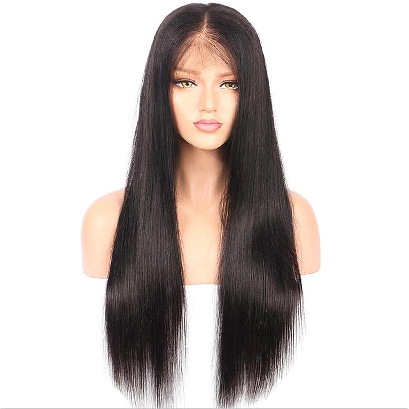 処理するハックそんなに女性レースフロントウィッグ100%未処理のバージンヘアブラジル人のremy人間の髪の毛ストレートヘアレースかつら180%密度黒26インチ