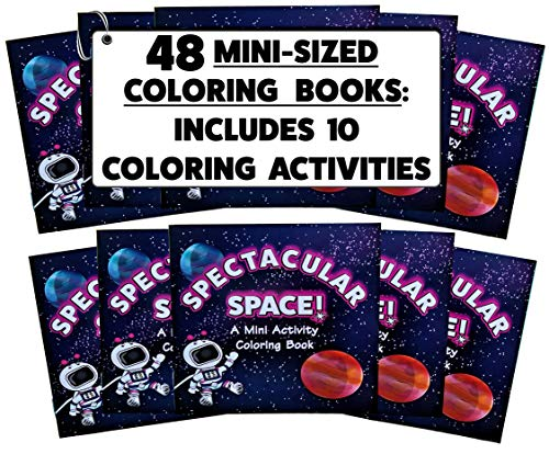 (48 Pack) 4.75 inch x 4.75 inch Mini Space Coloring Books Bulk (Mini Coloring Books for Kids in Bulk, Mini Coloring Books Party Favors)