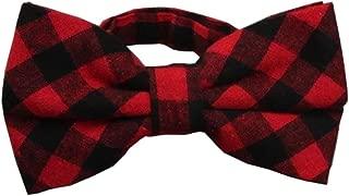 Men's Pre-Tied Red Black Plaid Bow Tie Wedding Party Adjustable Bowtie