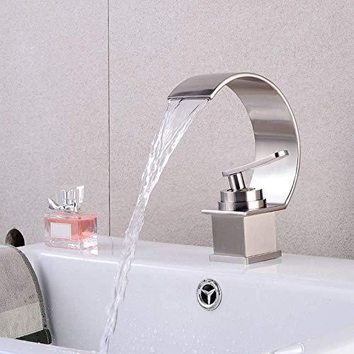 SPRINGHUA Moderno Blanco de Plata del Cobre Curvado de Acero Inoxidable baño Grifo del Fregadero - Cascada Sola manija Grifo Una Hermosa práctica