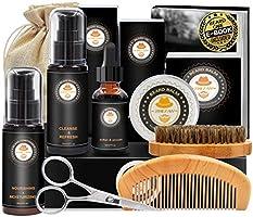 Upgraded Beard Grooming Kit w/Beard Conditioner,Beard Oil,Beard Balm,Beard Brush,Beard Shampoo/Wash,Beard Comb,Beard...