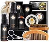 Complete Men's Beard Kit Beard Set with Beard Conditioner Beard Shampoo, Beard Oil, Beard Comb, Beard Brush, Beard Balm, Scissors, Bag, E-Book, Beard Care Gifts For Men