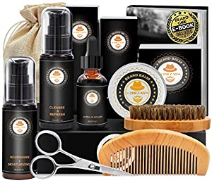 Great Value with Extra Bonus - This beard growth kit is packed in a luxury GIFT BOX with Beard Conditioner,Beard Shampoo,Beard Oil,Beard Balm,Beard Brush,Beard Comb,Beard Scissor,Storage Bag,E-Book. Great Choice - This is your great choice,as these a...