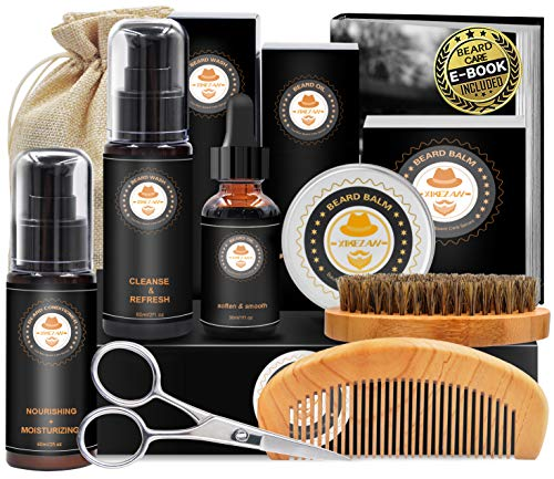 Upgraded Beard Grooming Kit w/Beard Conditioner,Beard Oil,Beard Balm,Beard Brush,Beard...