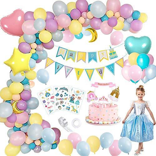 Decoración de Fiesta de Cumpleaños, Globos de Cumpleaños Princesa Tema, Globo de Macaron Azul/Amarillo/Rosa Feliz Cumpleaños Banner Cake Topper para Niña Cumpleaños Baby Shower