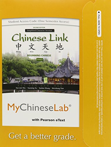MyLab Chinese with Pearson eText -- Access Card -- for Chinese Link: Level 1 Simplified Character Version (one semester