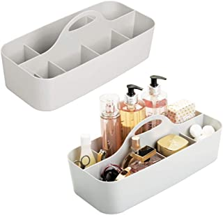 mDesign Plastic Portable Storage Organizer Caddy Tote - Divided Basket Bin, Handle for Bathroom, Shower, Dorm Room - Holds Hand Soap, Body Wash, Shampoo, Conditioner, Lotion - 2 Pack - Light Gray