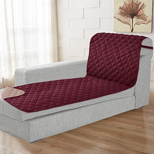 Rose Home Fashion Reversible Chaise Lounge Cover, Chaise Lounge Slipcover, Sectional Couch Covers for Dogs (Chaise Lounge: Merlot/Tan)