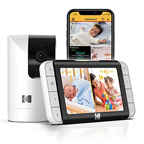 KODAK CHERISH C525P Smart Video Baby Monitor, Video for Clear and Confident Check-Ins, User-Friendly Setup and Use and Battery-Life Lasting Through Naptimes or the Whole Night