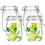 Kingrol 4 Pack 34 Ounces Glass Jars, Wide Mouth Storage Canister Jars with Bail and Trigger Clamp...