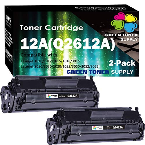 (2Pack Black) Compatible Q2612A Toner Cartridge 2612A Used for HP 12A Laserjet 1012 1018 1020 1022 3015 3020 3030 3050 3052 P3055 M1319 1022NW M1319F M1319F M1005 Printer, by GTS