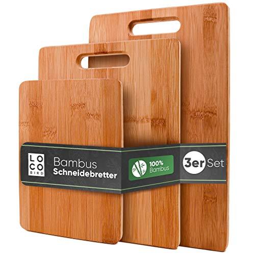 Loco Bird Juego de tablas de cortar de bambú macizo de 3-33x22 / 28x22 / 15x22cm - Tabla de cortar de cocina de madera - Tabla de cortar antibacteriana de madera