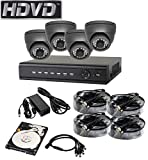 HDVD HVD-P-T87E4 HD-TVI CCTV 8CH DVR with 4 Camera Package Full HD 1080P HDMI Output Night Vision IR Indoor/Outdoor Eyeball Camera 1TB HDD Installed