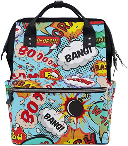 UUwant Sac à Dos à Couches pour Maman Large Capacity Diaper Backpack Travel Manager Baby Care Replacement Bag Nappy Bags Mummy Backpack Comic Speech Bubbles Bang! Boom! Pattern School Bag