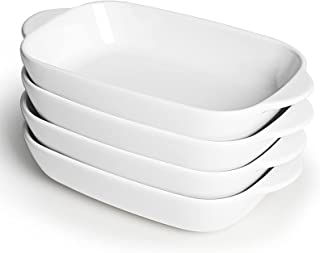 LEETOYI Ceramic Small Baking Dish 7.5-Inch Set of 4, Rectangular Bakeware with Double Handle, Baking Pans for Cooking and ...
