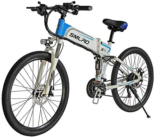 Electric Bike Electric Mountain Bike Electric Mountain Bike, 26-inch Folding Electric Bicycle With Ultra-lightweight Magnesium Alloy Spokes Wheel, 21-speed Gear, Advanced Full Suspension for the jungl