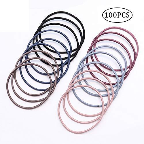 ChuckSss elastische Haarbänder, mehrfarbig, für dickes, schweres und lockiges Haar, 100 Stück