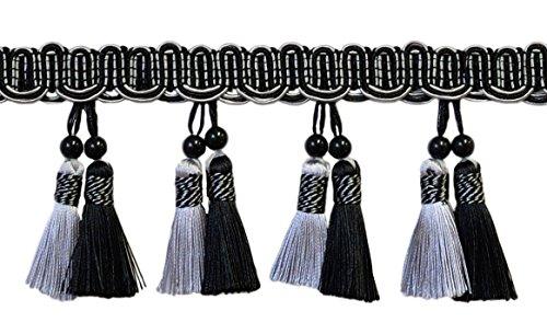 DecoPro élégant 10 cm Perles Franges Style # Btfh4 – Noir, Gris argenté Sgb (Vendu par la Cour (0,9 m = 91 cm/0,9 m/91,4 cm)