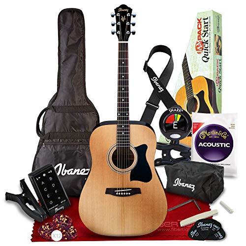 Ibanez IJV50 JAMPACK 6 String Acoustic Guitar Pack, Natural with Tuner + Picks +...