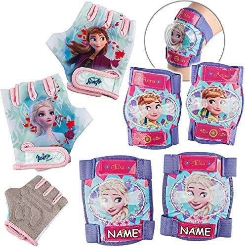 alles-meine.de GmbH 6 TLG. Set - Knieschoner + Ellenbogenschützer + Fahrradhandschuhe - Disney die Eiskönigin - Frozen - inkl. Name - für Circa 4 bis 12 Jahre - Kinder - Schutzau..