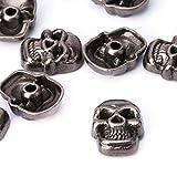 Weddecor 11mm Gunmetal Skull Head Punk Metal Rivets - Fashion Accessories for Leather Belts,...