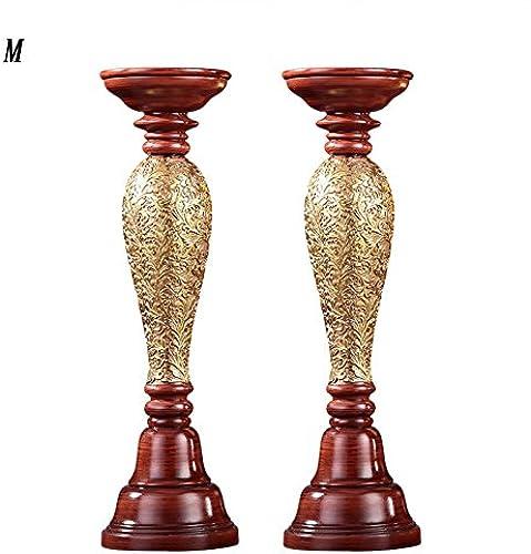 Unbekannt Yixin Kerzenst er Kerzenlicht Harz Material Handgeschnitzte Muster Rot + Gold S M L (Größe   M-10  35CM)