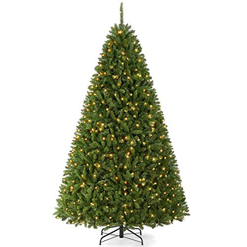 YAHEETECH Premium Pre-lit Douglas Full Fir Ultra-Thick Spruce Christmas Tree with Incandescent Warm White Lights,Prelighted Xmas Tree with Foldable...