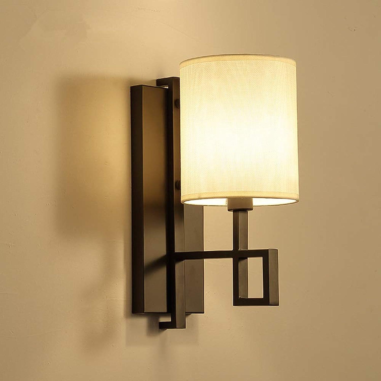 Zen Wandleuchten mit Leinenstoff, traditionelle klassische Deko-Wandleuchte - Oriental Style Design Wandleuchte Leuchte für Schlafzimmer Wohnzimmer Lesen, E14 Sockel Licht ( Farbe   schwarz )