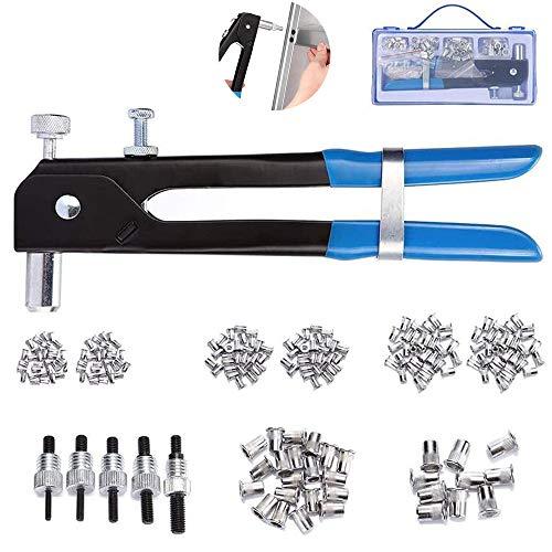MAYLINE Juego de herramientas para tuercas de remache Tuercas de remache 158 pcs, herramientas de remachado manual para trabajo pesado, inserto roscado de llave Incluye M3 M4 M6 M8 M8(158 pcs)