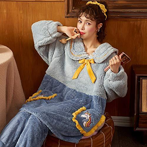 ASADVE Pijamas de Lana de Coral Engrosamiento de Invierno para Mujer más Trajes de Servicio a Domicilio de otoño e Invierno de Franela Informal de Lana se Pueden Usar afuera-L_U-8872