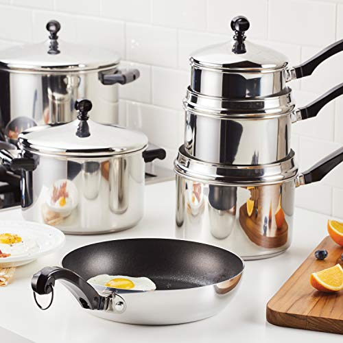 Farberware Classic Saute Pan / Frying Pan / Fry Pan with Lid and Helper Handle - 4.5 Quart, Silver