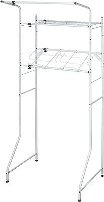 平安伸銅工業 ランドリーラック 棚1段 洗濯かご台・ハンガーバー付き ホワイト 幅67-97×奥行53×高186cm L-4