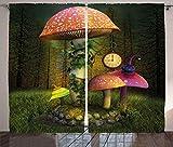Tr674gs Juego de cortinas decorativas de fantasía, bosque de ficción con setas gigantes y elfos, imagen mágica encantada, para sala de estar o dormitorio, 2 paneles, 27 x 192 cm, color verde coral