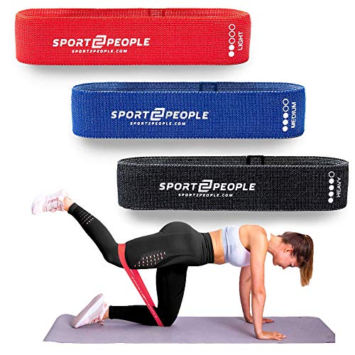 sport2people Loop Resistance Bands mit Free E-Books – Fitnessband Set, Gymnastikband, Booty Band - Fitnessbänder, Fitness Band, Trainingsband, Übungsband, Widerstandsband, Physiotherapie Geräte