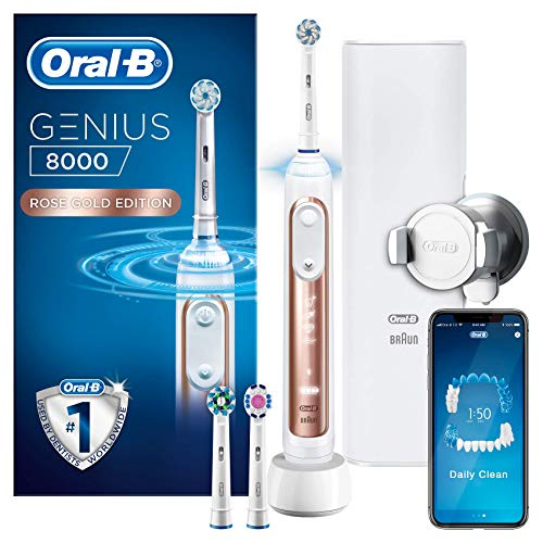 Oral-B Genius 8000 Electric Toothbrush Rechargeable Powered By Braun, 1 Rosegold Connected Handle, 5 Modes Including Whitening, Sensitive & Gum Care, 3 Toothbrush Heads, 1 Travel Case, 2 Pin UK Plug