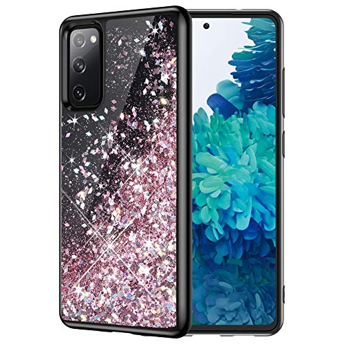 Caka Glitter Case for Galaxy S20 FE 5G Case for Women Girls Girly Liquid Sparkle Luxury Fashion Flowing Shining Glitter Quicksand Black Case for Samsung Galaxy S20 FE 5G 6.5'' (Rose Gold)