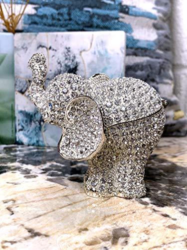 VI N VI Silver Rhinestone Elephant Jewelry Trinket Box Gift