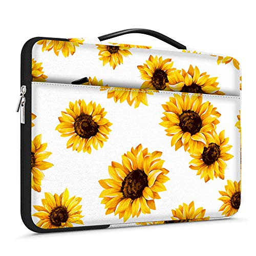 Lapac Laptop-Hülle mit Handgriff für 38,1–39,6 cm (15 - 15,6 Zoll), Notebook-Computer, HP Chromebook-Hülle, 360-Grad-Schutzhülle, wasserdicht, gelbe Sonnenblumen-Tasche mit Tasche