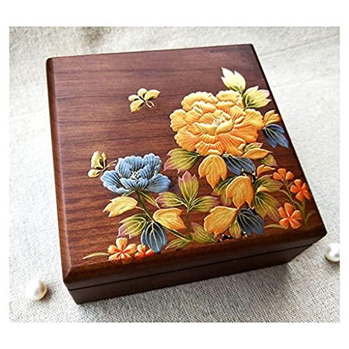Panduo XYJ - Joyero retro de madera maciza, caja de almacenamiento de joyería de flores antiguas caja de regalo (color: B) (color: B)