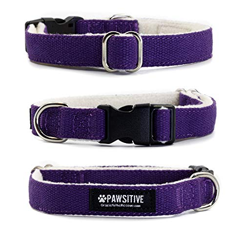 Pawsitive Hemp Dog Collar - We Donate a Collar for Every Collar Sold. Help a shelter in Need! Solid Color Adjustable Collar Great for Small, Medium and Large Dogs (Med Purple)