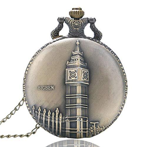 HUABiao Reloj de Bolsillo Bronce Reloj Big Ben Reloj de Bolsillo Casual Cuarzo Redondo Tiempo Fob Regalo Unisex con Collar, A