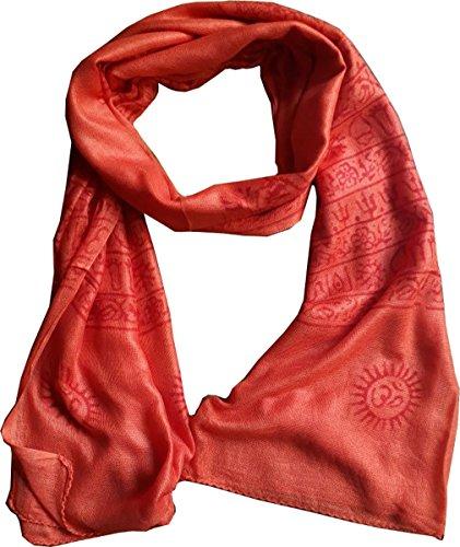 KVR OM AUM Krishna Buddha Ganesha Shiva yoga spiritual auspicious Pooja Hindu Religious Indian prayer scarf (Orange-Shiva-2)