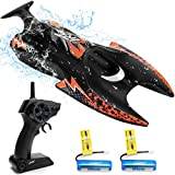 40 Mins Playing Time RC Boat - JJRC Remote Control Boat(2.4 GHz) for Pools and Lakes Toys for Kids and Adults, Self Righting Racing RC Boat with 2 Battery
